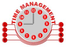 Time management thema with glock face and business icons, gray and red design on white background. Vector EPS 10 Royalty Free Stock Photos