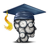 Time Management training. And graduation date concept as a group of clocks shaped as a human head with a mortar board or graduate hat as a symbol for efficiency Royalty Free Stock Photos