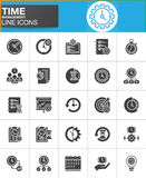 Time management vector icons set. Modern solid symbol collection, filled style pictogram pack. Signs, logo illustration. Set includes icons as timer, stopwatch Royalty Free Stock Images
