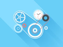 Time Management. Vector illustration concept of time management  on blue background with long shadow Stock Photo