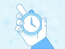 Time management - vector modern illustration. In flat linear style with male hand holding stopwatch Royalty Free Stock Photography