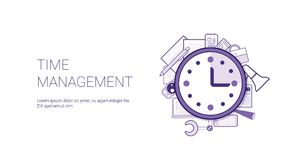 Time Management Web Banner With Copy Space Business Scheduling Concept. Vector Illustration Royalty Free Stock Photo