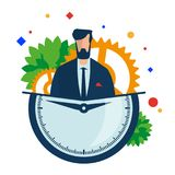 Time management. Working hours. Manager with a clock and gears. vector illustration