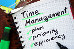 Time Management written on a tablet. royalty free stock image