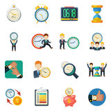Time Managment Flat Icons Set. Successful time management money saving concept with different types clock flat icons collection abstract isolated vector Royalty Free Illustration
