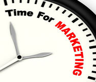Time For Marketing Message Showing Advertising And Sales Stock Image