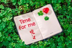 Time for me text in notebook royalty free stock photography
