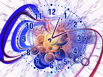 Time mechanics. Composition of gears, clock elements and dynamic swirly lines suitable as a backdrop for the projects on scheduling, temporal and time related vector illustration