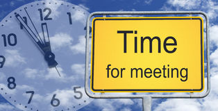 Time for meeting sign and clock Stock Images