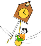 Time metaphor. Boy swinging on the clocks as a time metaphor stock illustration
