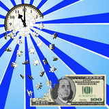 Time Is Money. Clock set at 11:00 AM or PM dissolving into puzzle pieces that are being reassembled into a one hundred dollar bill signifying that time is money Stock Photography