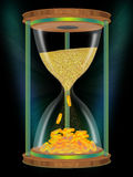 Time is money. Hourglasses on black background Royalty Free Stock Images