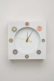 Time is money. Clock on the wall displaying british coins Royalty Free Stock Images