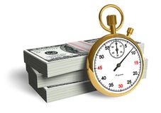Time is money. Golden stopwatch with stacks of dollars Stock Photo