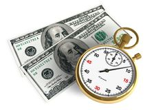 Time is money. Golden stopwatch and dollar banknotes isolated over white Royalty Free Stock Images