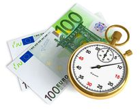 Time is money. Golden stopwatch and euro banknotes isolated over white Royalty Free Stock Images
