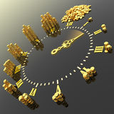 Time is money. Clock with gold coins. Hi-res digitally generated image Stock Photos