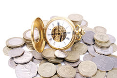 Time is money. Gold fob watch with british money. with Time set at 9 o'clock, time to start work Stock Photo