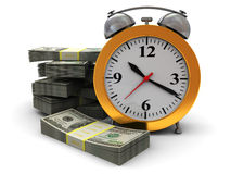 Time is money. Abstract 3d illustration of alarm clock and money stacks, over white background Stock Photography