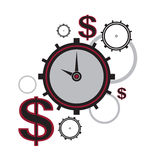 Time is money. A  abstract image of the clock with the dollar signs Stock Photos