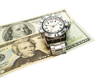 Time is Money. Wrist watch and US dollar money, isolated white background stock images