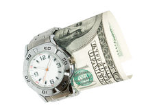 Time is Money. Wrist watch and US dollar money, isolated white background stock photography