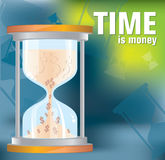 Time is money. (Time management) - sandglass filled us dollar money Royalty Free Stock Images