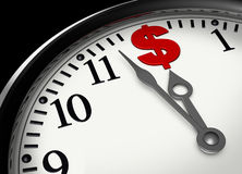 Time is money. Us money symbol together with clock