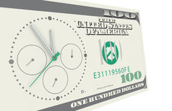 Time is Money. A Chronograph mounted on a 100 dollar bill Stock Images