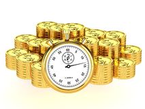 Time is money. Pile of gold coins and stop watch isolated on white background Royalty Free Stock Photos