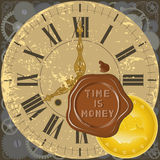 Time is money 2. Color illustration with decorative elements of watch, a sealing wax press and a gold coin royalty free illustration