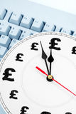 Time is money. Clock and pound Sign, concept of time is money Royalty Free Stock Image