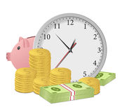Time is money. Concept with clock, piggy bank, dollar banknotes and coins Royalty Free Stock Images