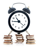 Time is money. Concept, classic alarm clock on a stack of money, on white background stock image