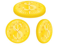 Time is money. Golden dollar coin with clock Royalty Free Stock Images