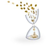 Time is money. 'Time is money' concept illustration. A flow of coins passing throught an hourglass like sand representing the passing of time Royalty Free Stock Image