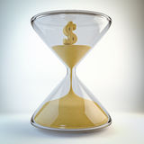 Time is money. Render of an Hourglass with a dollar symbol made of sand inside Royalty Free Stock Photography