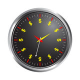 Time is money. Illustration of clock on time is money concept Stock Photography