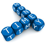Time is money. Crossword time and money words in arrangement over white background, time is money saying concept, blue dice with white text stock illustration