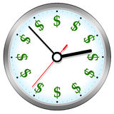 Time is money. Concept with ticking clock and dollar signs Royalty Free Stock Images