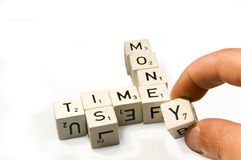 Time is money. Spelled out Royalty Free Stock Photography