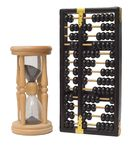 Time is money. Sand clock and chinese abacus royalty free stock images