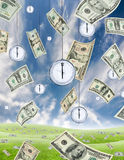 Time is money. Conceptual shot about time and money with dollar banknotes falling from the sky and clocks hanging from the sky. Vertical vector illustration