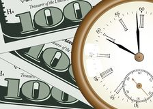 Time - money. Concept - pocket watch on one hundred dollars background Royalty Free Stock Images