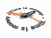Time is money. Clock-face with text. Isolated Stock Image