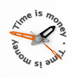 Time is money. Clock-face with text. Isolated Stock Images
