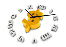 Time is money. Money icon at the center of the clock represent time is money Stock Photo