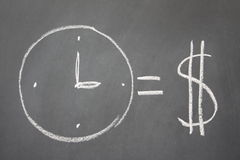 Time is money. A drawing in chalk on blackboard illustrating the concept that time is money Royalty Free Stock Images