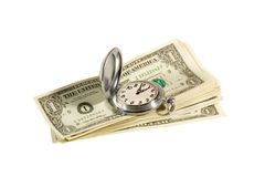 "Time is money. Antique pocket watch and dollar bills (""time is money"" concept Royalty Free Stock Photography"