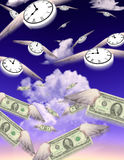 Time & Money. Clocks and Money fly in groups toward an unknown but similar destination Stock Illustration